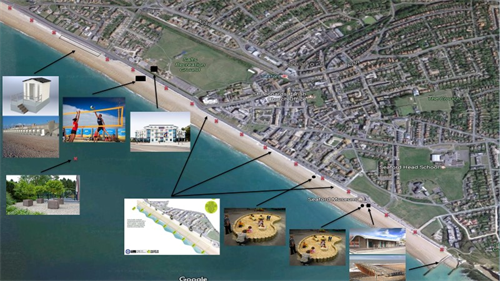 An image showing the Seafront plans highlighted on a map of Seaford seafront