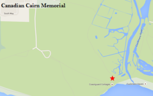 A screen shot image of the Cuckmere Valley War Memorial location on a map map