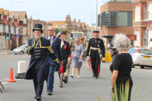 Sergeant-at-Mace, Peter White, leading the Mayor of Seaford, Councillor Dave Argent; High Sheriff, Juliet Smith; No 2 Seaford Platoon Army Cadet; Lord Lieutenant, Peter Field and Mrs Margaret Field