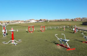 A photograph of the Salts outdoor gym with the cricket/rugby pitches in the background.