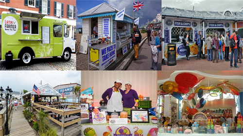 A collage of photographs of various Seafront outlet ideas such as a fish and chip shop