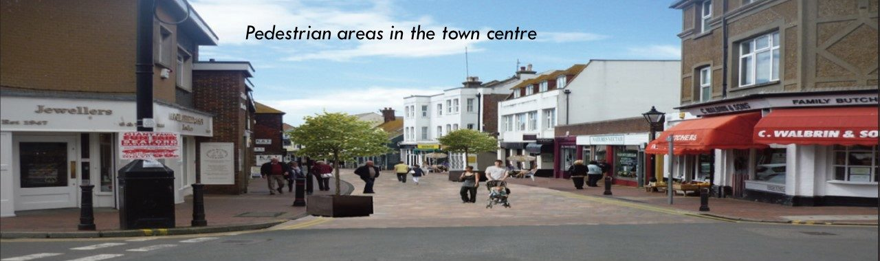 An electronic illustration of a pedestrian area in the Seaford Town Centre