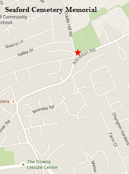 A screenshot of a map showing the location of the Seaford Cemetery on Alfriston Road