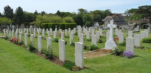 A photograph of graves at Seaford Cemetery
