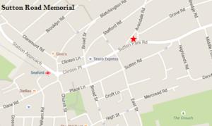 A screenshot of a map highlighting Sutton Road war memorial