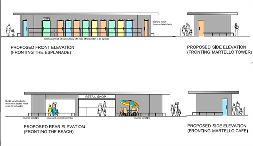A front facing view plan of the proposed Martello Toilets rebuild