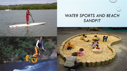 A collage of photographs showing water sports and a beach sand pit