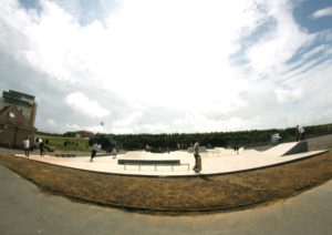 Skatepark with skaters
