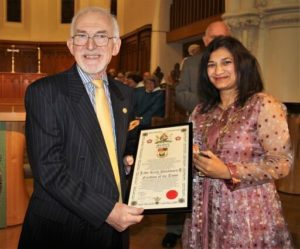 Photograph of Honorary Freeman Keith Blackburn with the 2019 Seaford Town Council Mayor Nazish Adil at the Freeman of the Town ceremony