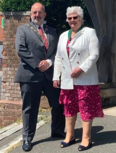A photo of the 2020 Mayor with his Mayoress and Consort