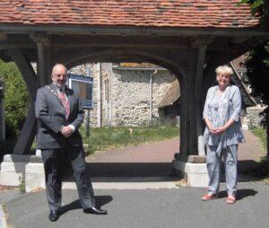 Photograph of the Mayor and Deputy Mayor outside St Leonard's Church