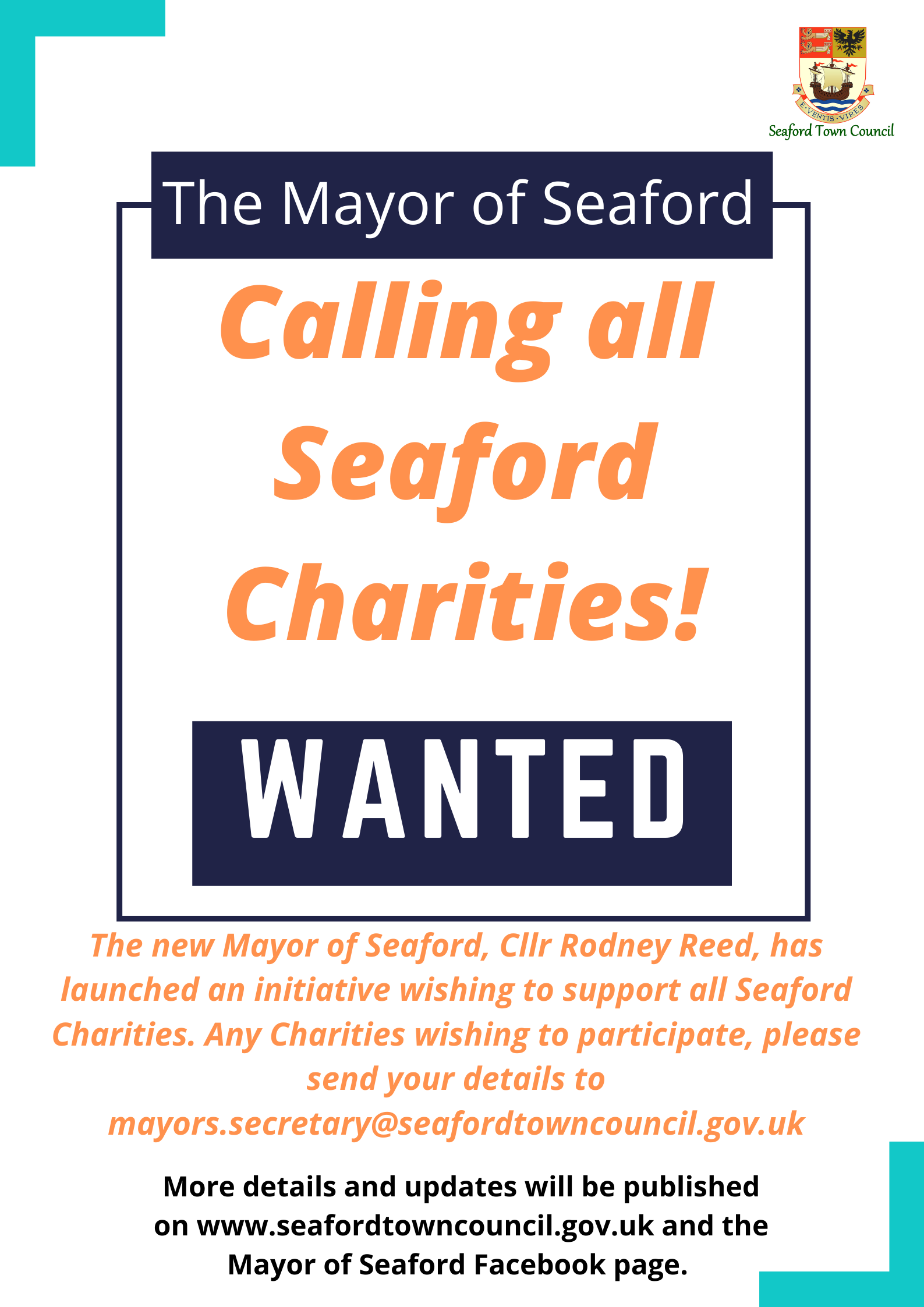 """A screenshot of a wanted poster which """"says calling all seaford charities"""" the poster encourages community charities and organisations to contact mayors.secretary@seafordtowncouncil.gov.uk to be involved in the 2020 Mayor's charity initiative"""