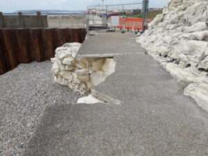 A photograph of the broken slabs of concrete at Splash Point