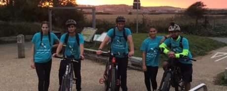 Image of Young Mayor and Deputy with 3 others on bikes, sponsored bike ride
