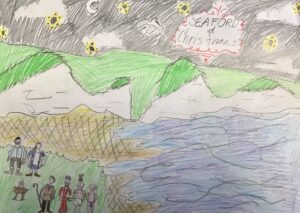 Child's landscape drawing of Seaford head with nativity scene