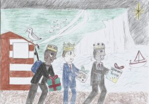 Child's landscape drawing of three kings on Seaford beach