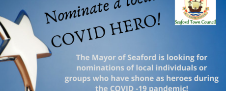 Poster with words inviting nominations for Covid hero certificates