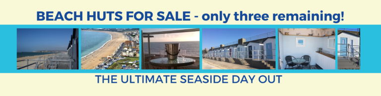Photos of the beach huts inside and out with the text