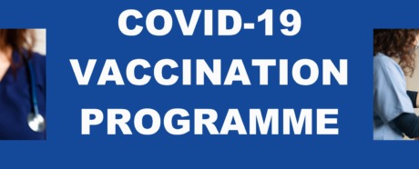 A banner showing two generic photos of the Covid-19 vaccine and words saying