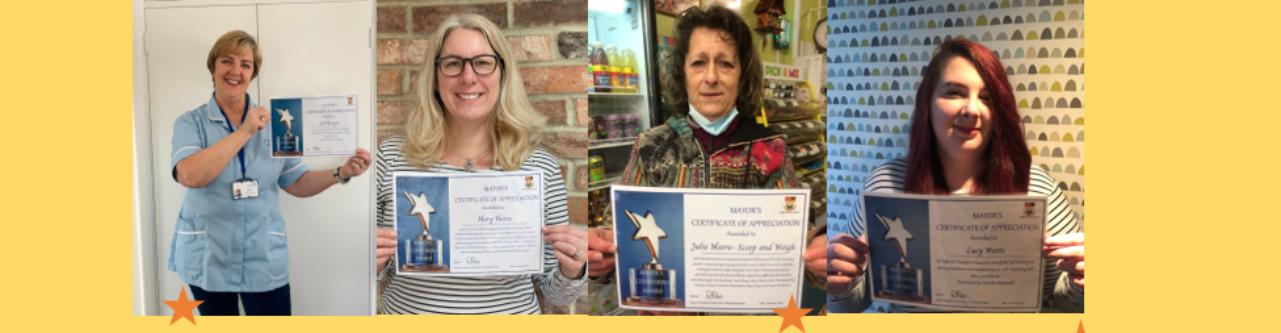 Banner - Mayor's Covid Hero Awards. 4 winners holding certificates