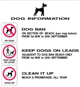 """Image showing dog ban images and the words """"Dog Ban, Keep Dogs on Leads, Clean It Up"""""""