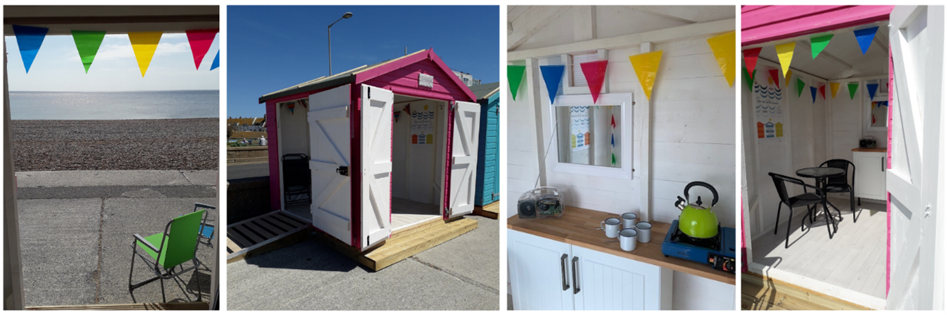 4 images of the West View Beach Huts from various angles showing inside and out