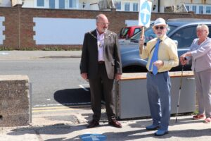 The Mayor and Chair of Seaford Community Partnership at the opening of the Gateway