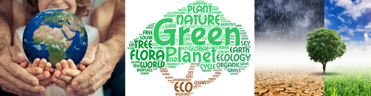 Family of hands holding the planet, with a a tree of climate change words such as green, tree, planet, ecology, eco, biodiversity.