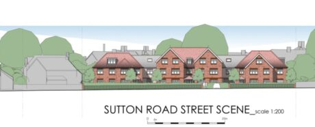 Illustration of front view of proposed development,
