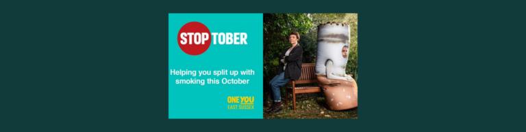Banner highlighting Stoptober encouraging quitting smoking in October